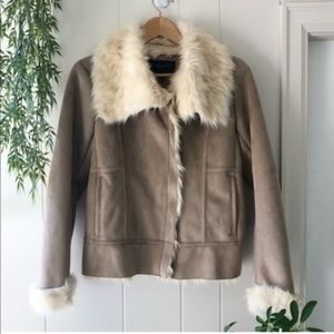 NEW ✨ Ann Taylor Vegan Suede Fur Lined Jacket XS